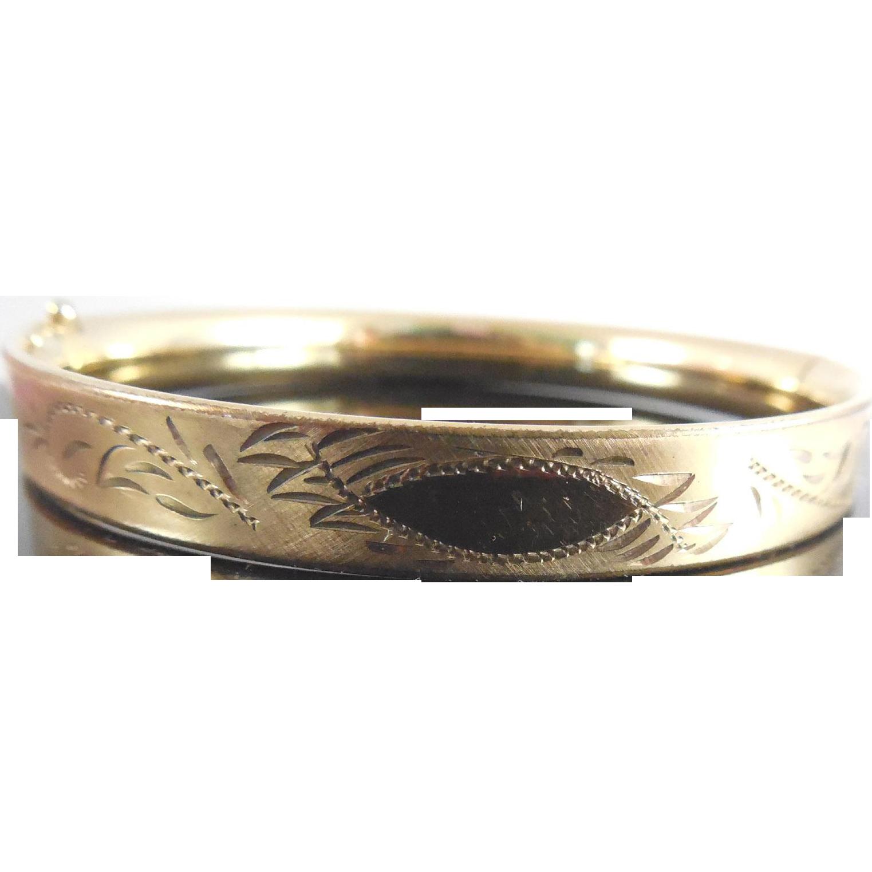 1/20 12K Gold Filled Hinged Bangle Bracelet With Etched Design