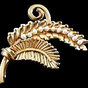 Gorgeous Vintage 12K Gold Filled & Pearl Fern Brooch Signed IPS