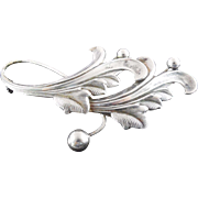 Vintage Sterling Silver Brooch With Stylized Leaves & Berries - Signed Forstner