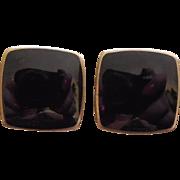 Norway Sterling Silver Enamel Earrings - Black Enamel Signed Opro