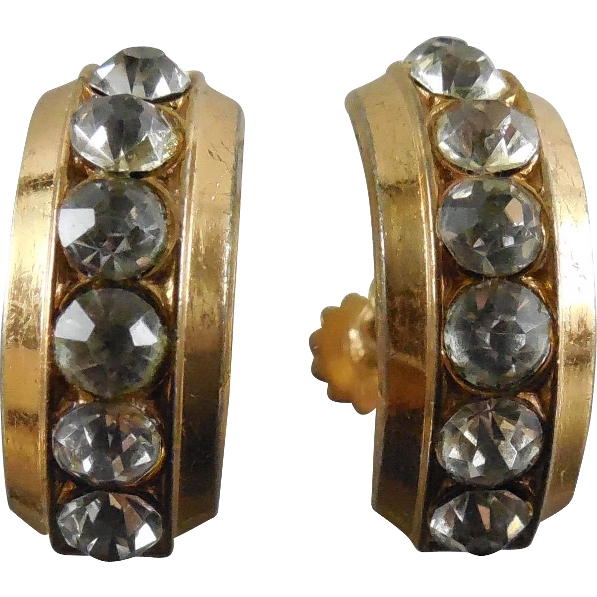 Older Vintage Signed Coro Rhinestone Earrings - Circa 1940s Screw On Sparklers