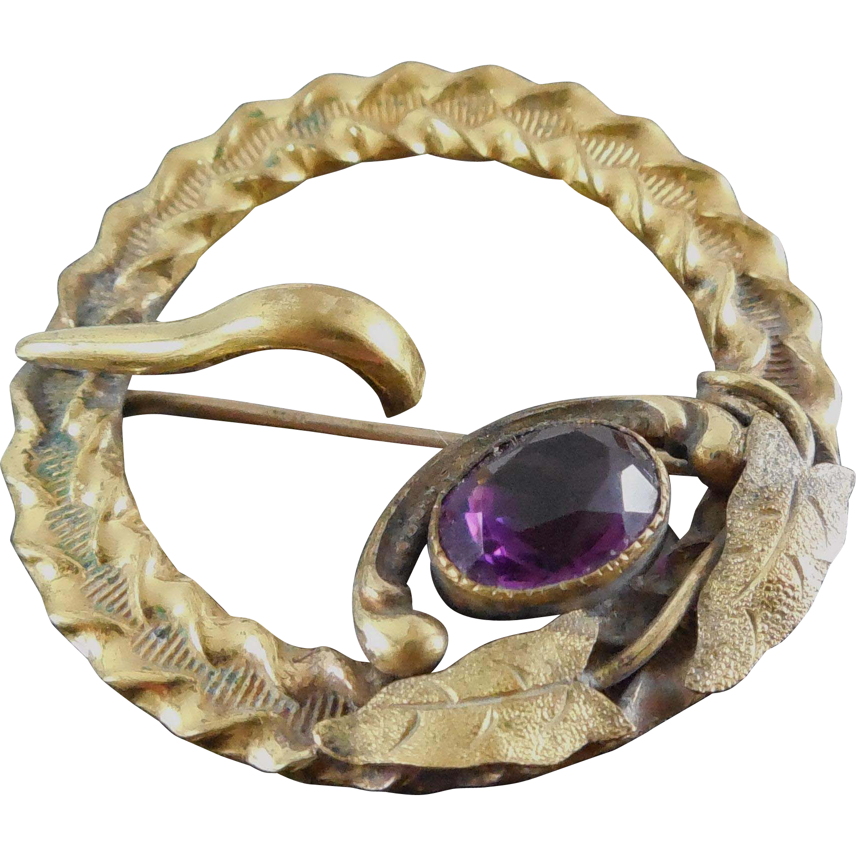 Gorgeous Signed Art Nouveau Botanical Buckle Brooch - George L Paine