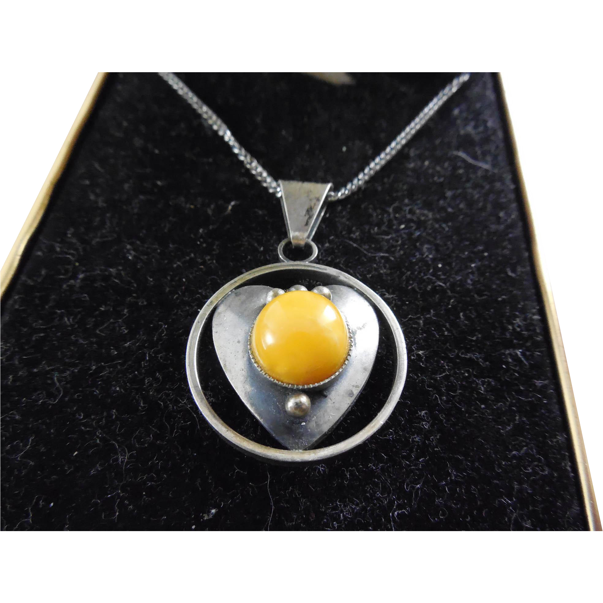 Vintage Butterscotch Amber Necklace 800 Silver on Sterling Silver Chain