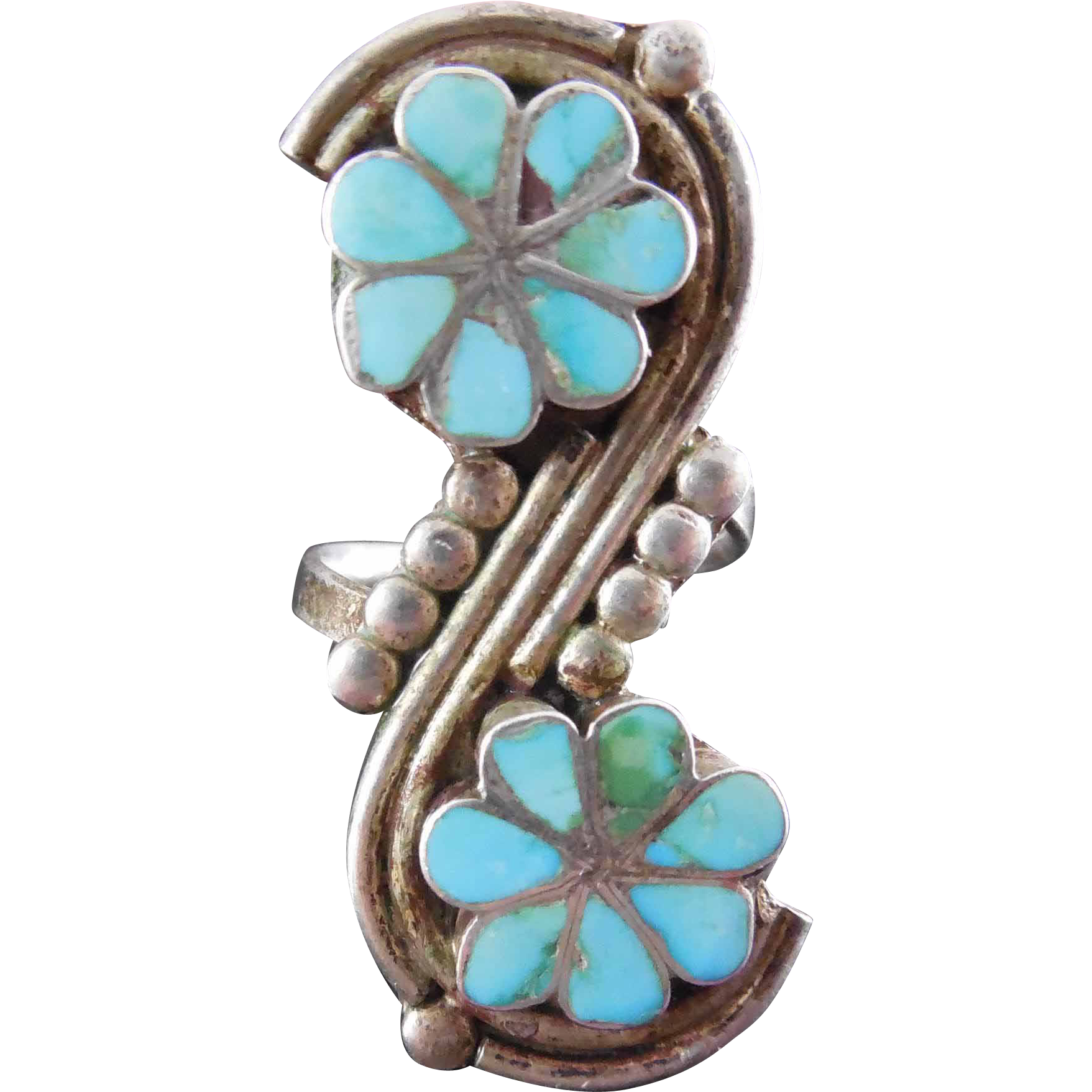 Signed V Native American Vintage Ring Zuni Double Inlaid Flower Silver Tuquoise