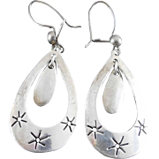 Vintage Sterling Silver Dangling Earrings Star Cutouts Taxco Mexico TG-84