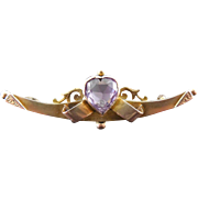 Victorian English 9K Gold Elaborate Bar Brooch with Heart Shaped Purple Gemstone
