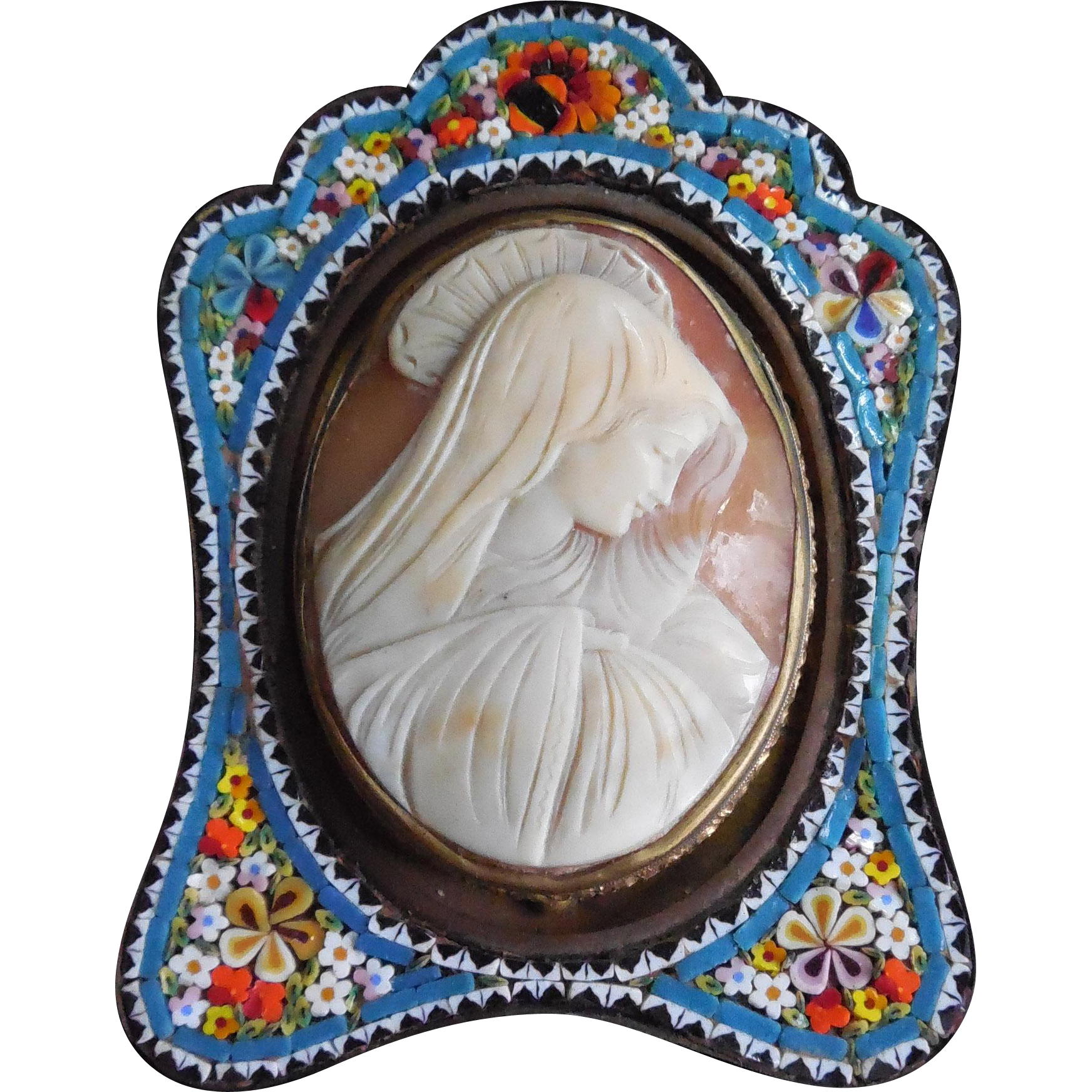 Antique Signed Veiled Madonna Carved Shell Cameo in Micro-Mosaic Frame