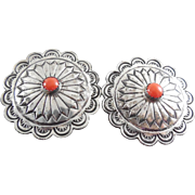 Vintage Concho Earrings With Coral Center Stones