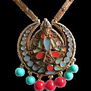 Vintage Florenza Etruscan Revival Enamel Pendant Necklace with Thai or Siamese Goddess