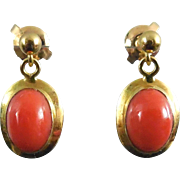 14K Gold Coral Earrings - Deep Orange Red Color For Pierced Ears