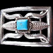 Vintage Sand Cast Native American Sterling Silver Belt Buckle Corn Design