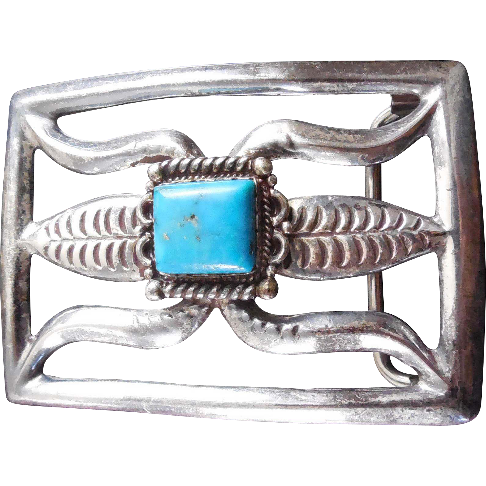 Vintage Sand Cast Native American Sterling Silver Belt Buckle Corn Design
