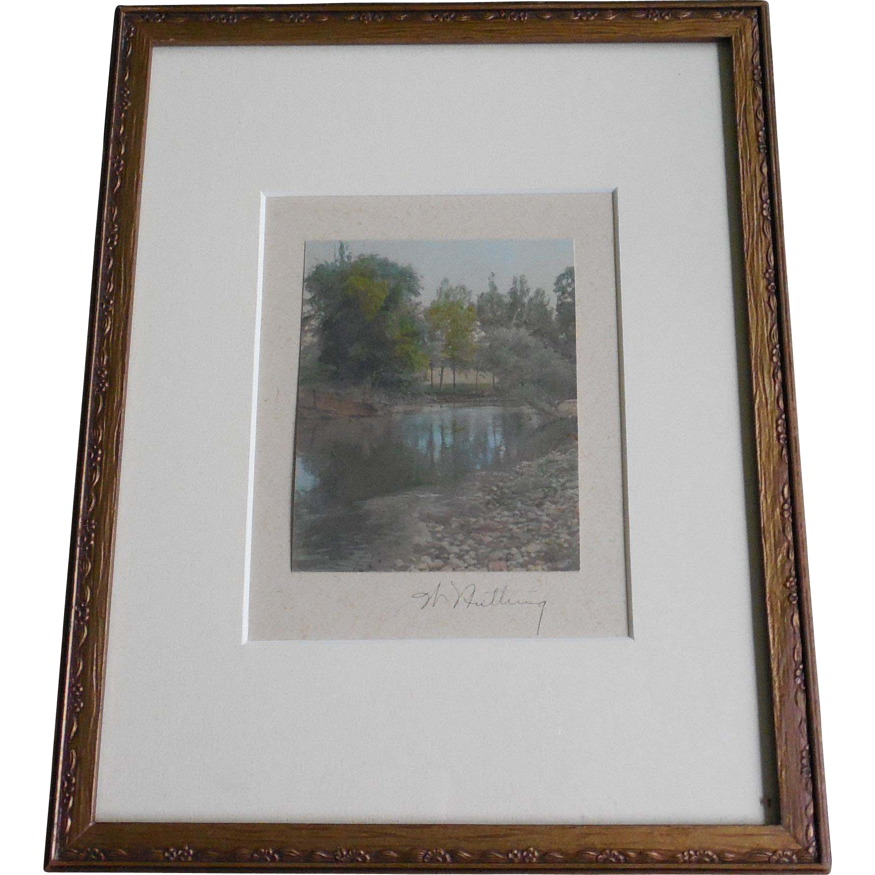 Vintage Framed Wallace Nutting Signed Photo - Water Scene