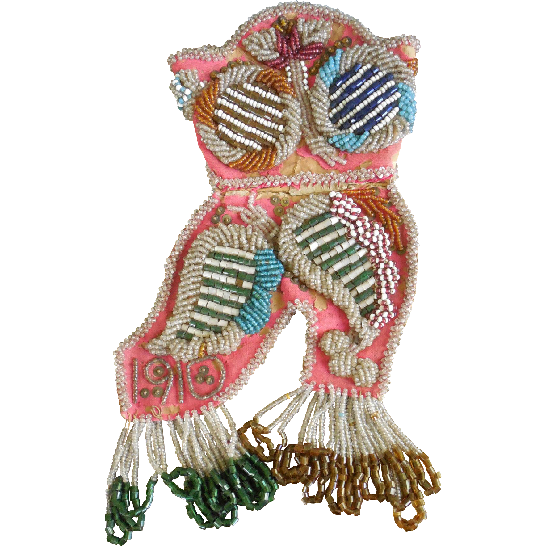 Dated 1910 Antique Native American Beaded Boot Owl Decorated Whimsy