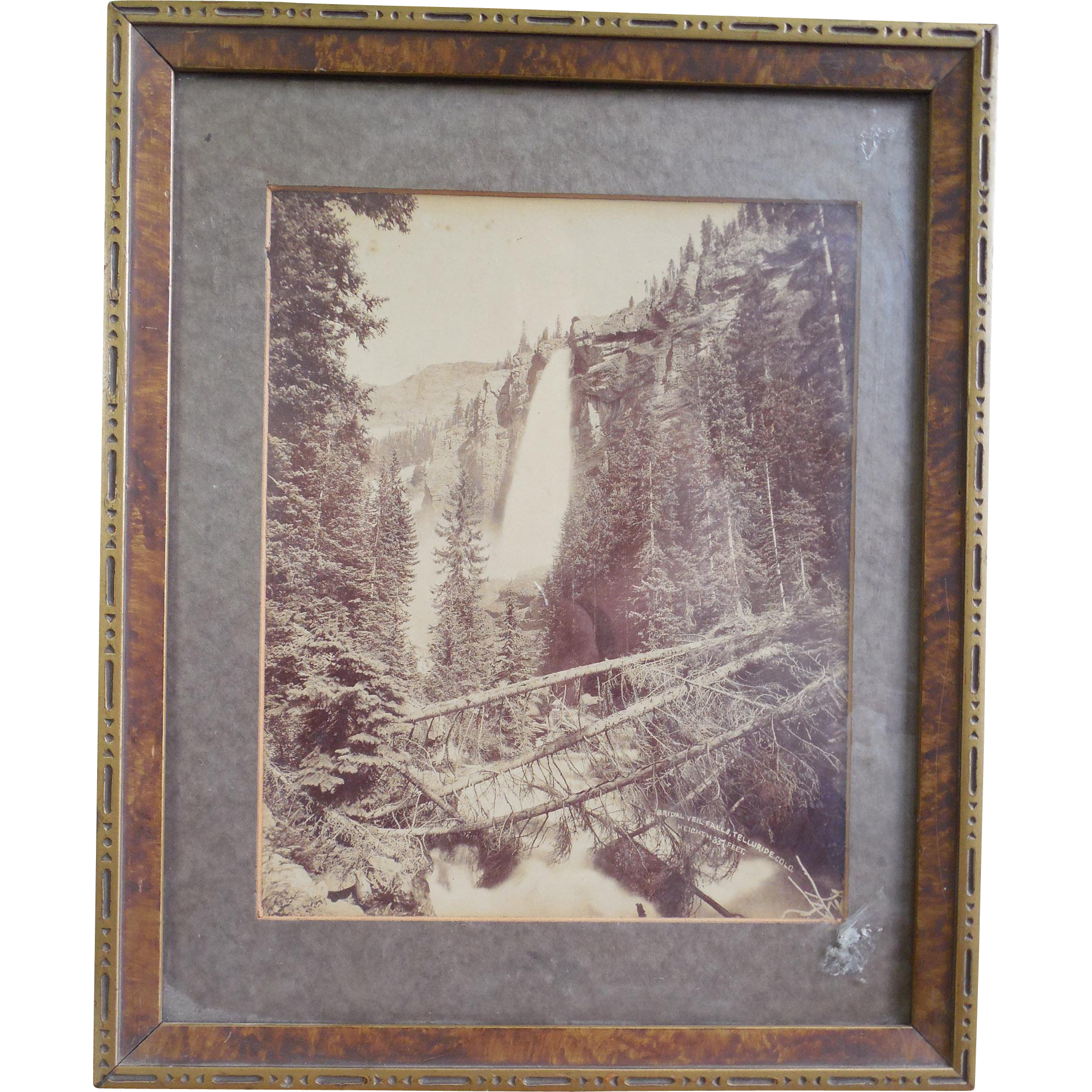 Rare Antique 1895 Photograph by William Henry Jackson of Bridal Veil Falls at Telluride Colorado