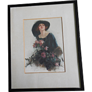Reginald Pannett 'A Gift' - Edwardian Beauty Framed Silkscreen On Satin