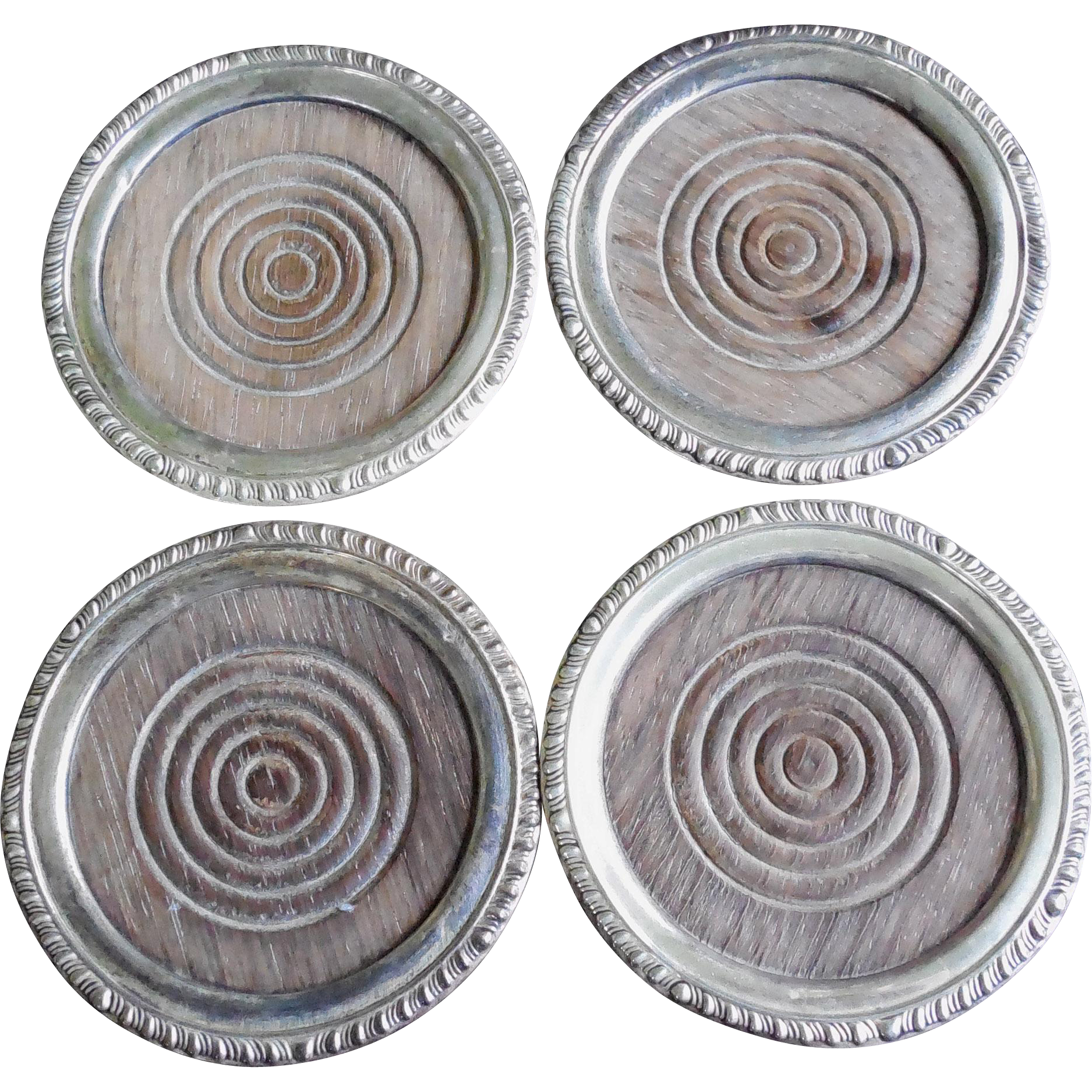 Four Antique Sterling Silver & Wood Coasters - Signed Frank M. Whiting Sterling