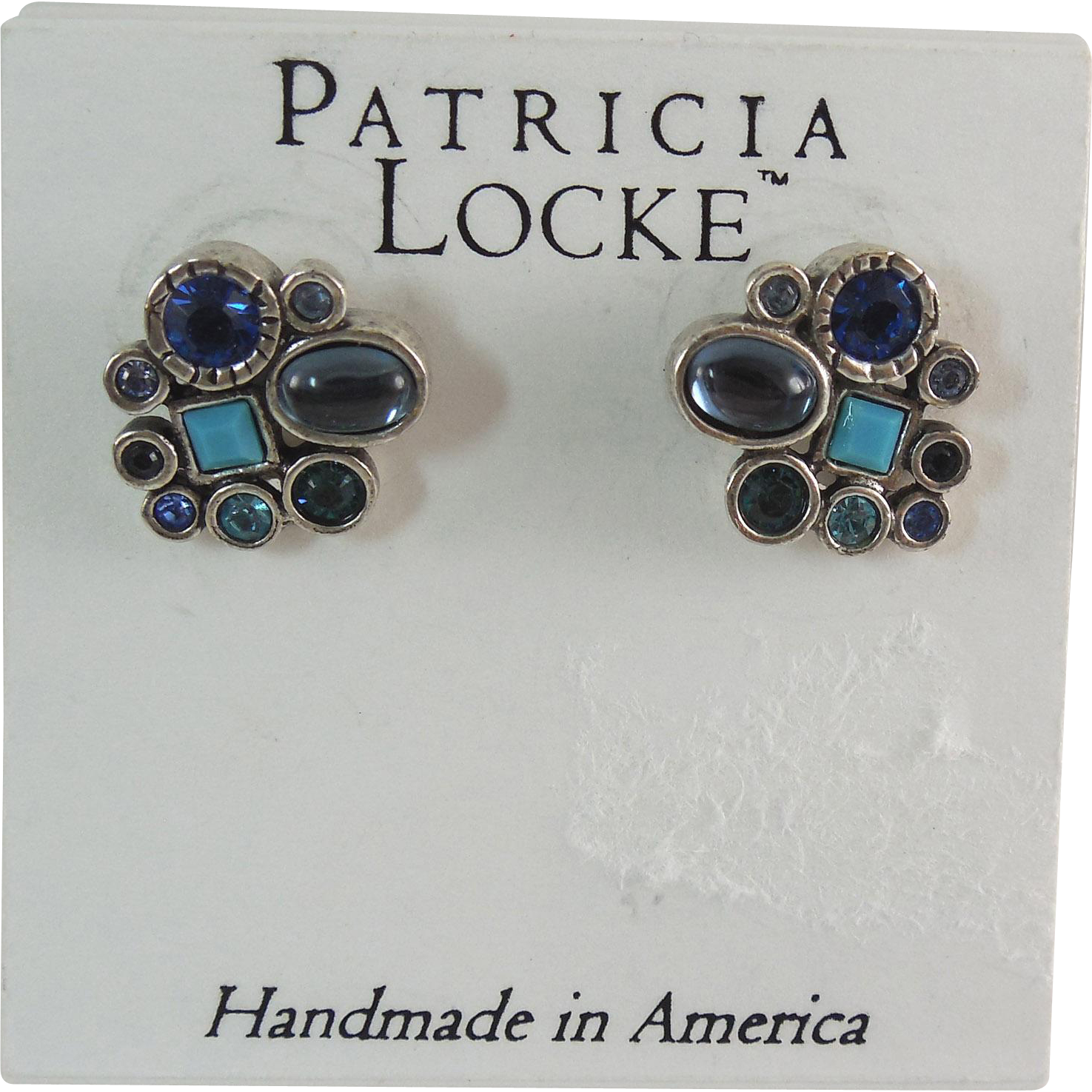 Designer Signed Patricia Locke Earrings On Original Card