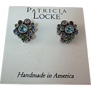 Designer Signed Earrings by Patricia Locke - With Swarovski Crystals
