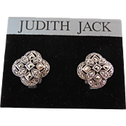 Signed Judith Jack Sterling Silver & Marcasite Earrings For Pierced Ears