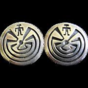 Signed Man In The Maze Silver Native American Earrings - Pierced Ears