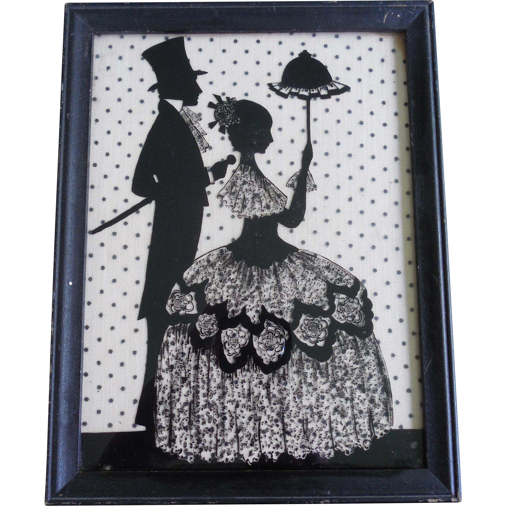 Vintage Silhouette Titled Morning Stroll Against Polka Dot Fabric Background Lace Top Hat Cane & Parasol