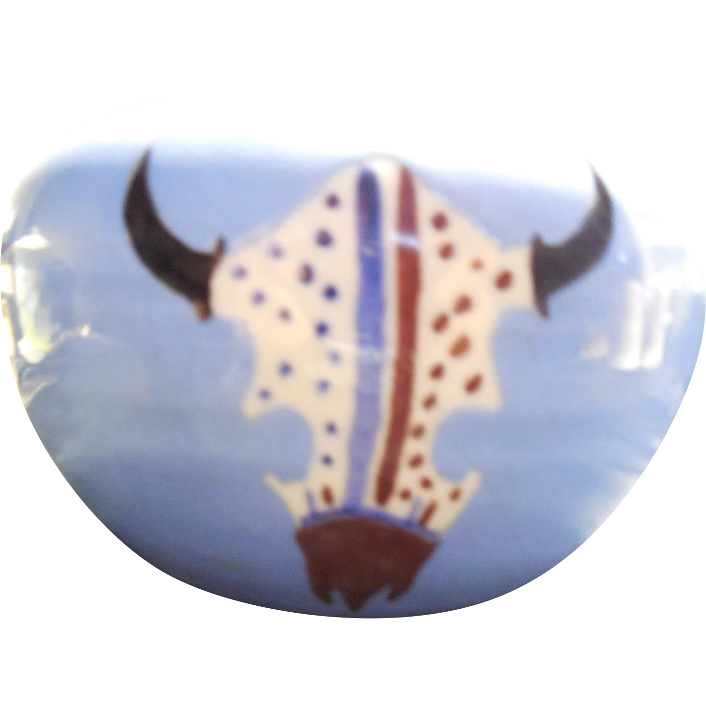 Yakima Nation Pottery Planter With Buffalo Skull Design - Native American Small Planter