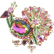 Fabulous Juliana DeLizza and Elster Peacock Brooch - Rainbow of Color!