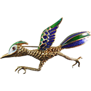 Signed Martine 14K Gold & Enamel Road Runner Figural Brooch With Ruby Eye