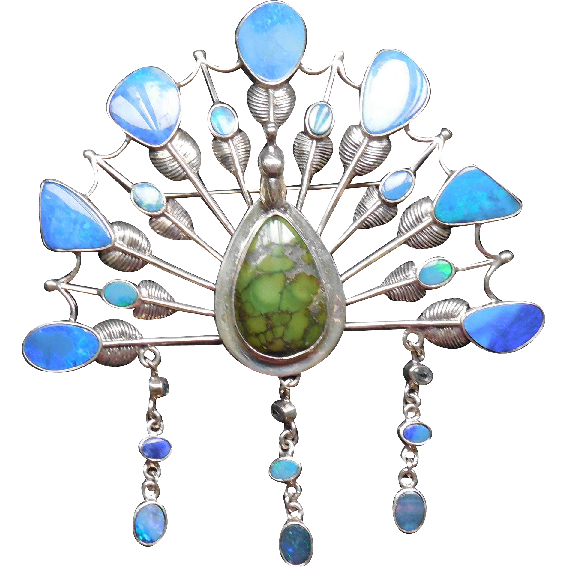 Huge Sterling Silver & Opal Dimensional Peacock Brooch - Statement Piece