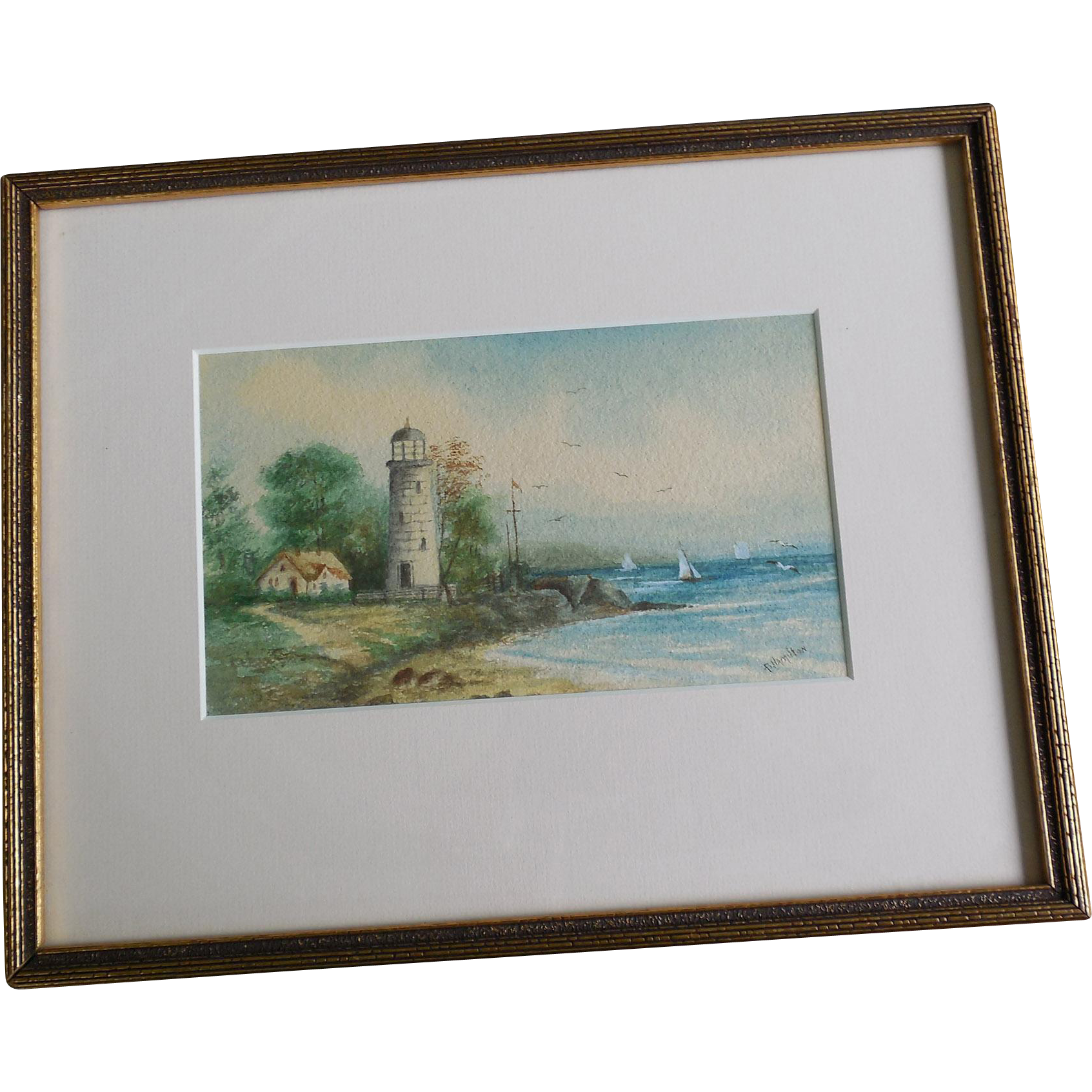 Lighthouse Seascape Watercolor Painting Signed B
