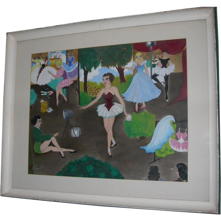 Mid Century Painting Of Backstage Ballerinas - Colorful and Appealing! by Karol Porter