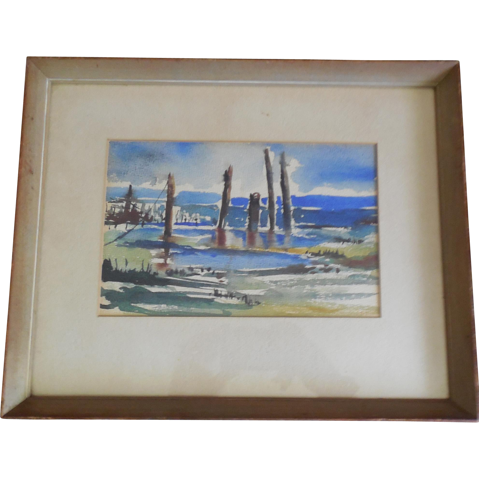 Signed Watercolor Painting of Dead Trees - Theise?