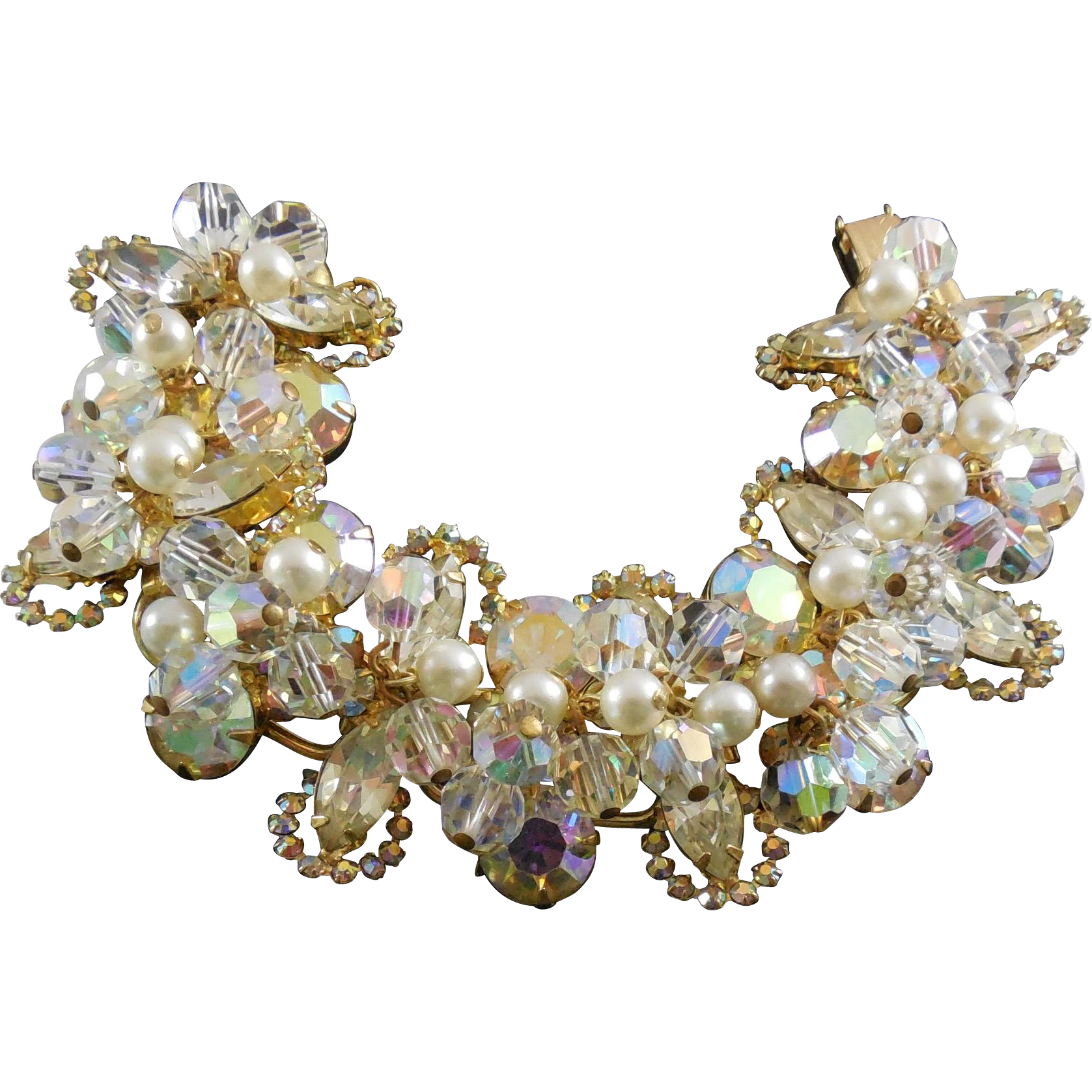 Fabulous Juliana D&E Crystal Pearl Sparkly Statement Bracelet