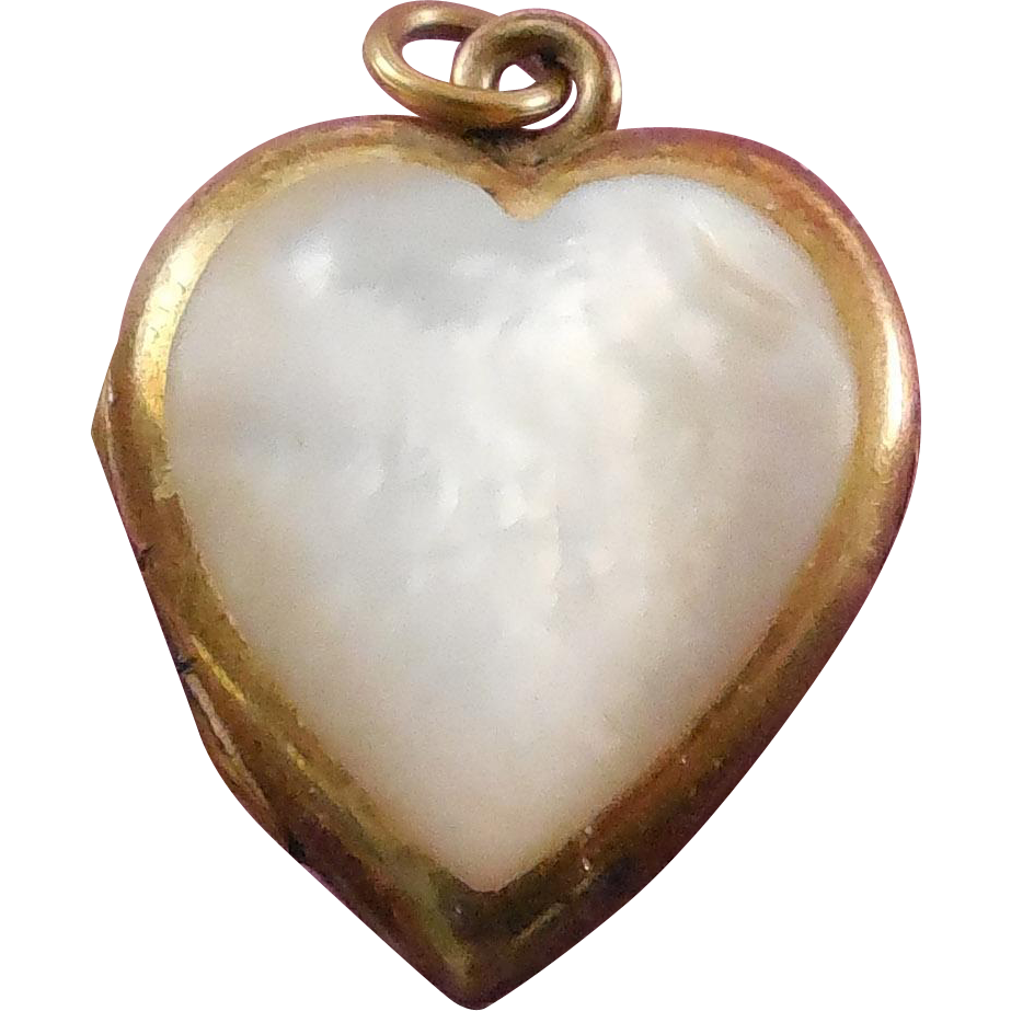 Signed Vintage Locket - Bliss Brothers Heart Shape with Mother Of Pearl Shell 1/20 10K Gold Filled