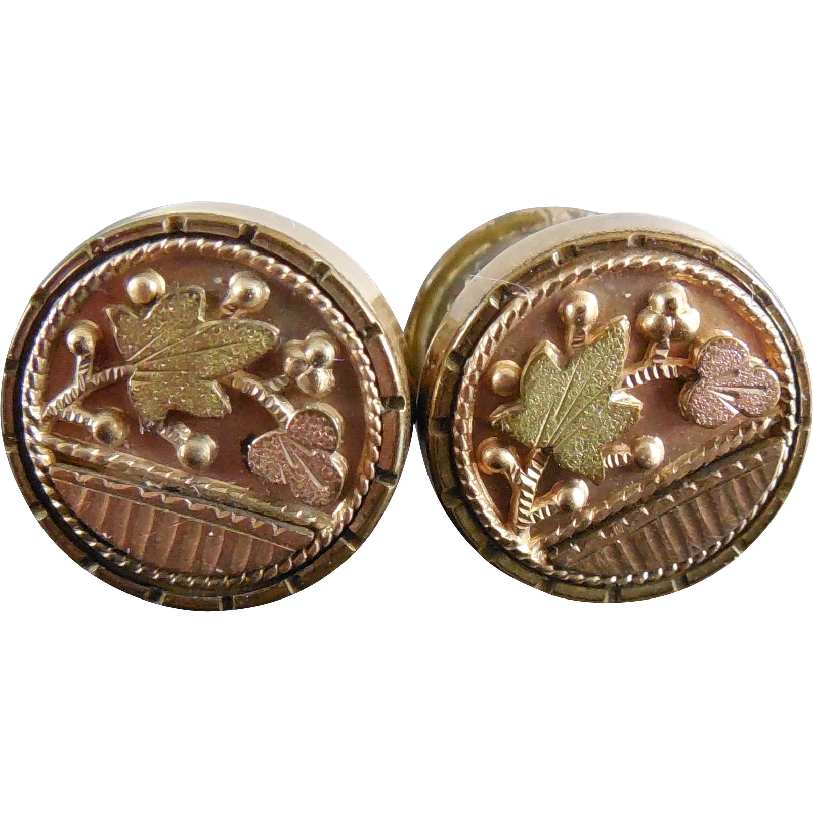 Victorian Cuff Buttons Tri Color Gold Filled Dimensional Berry Leaf Design Signed Acme
