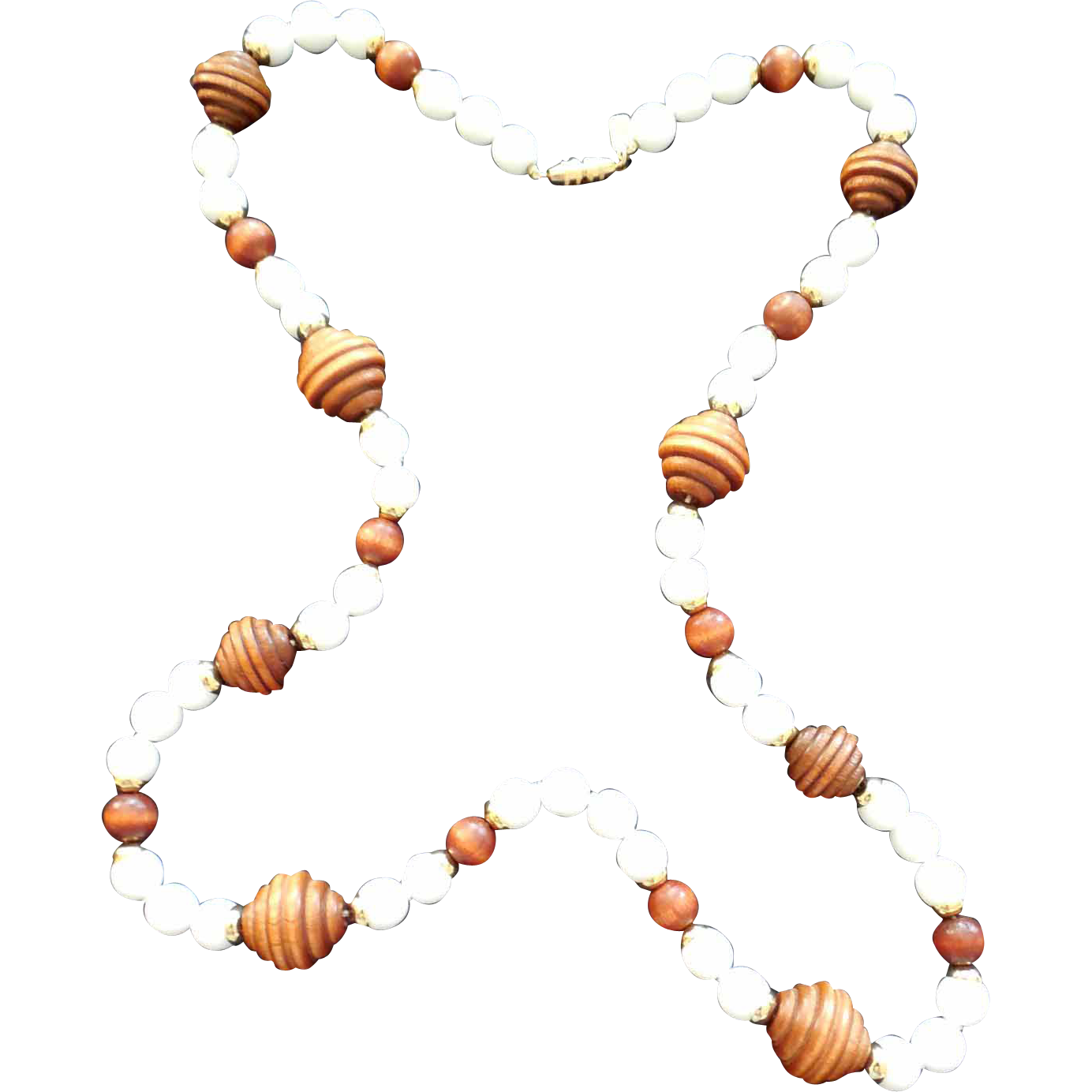 Vintage Designer Signed Kenneth Lane Long Milk Glass And Wood Necklace - 1960 ~ 1980's mark