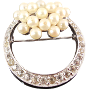 Vintage Signed Jomaz Rhinestone & Faux Pearl Rhodium Plated Brooch