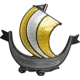 Vintage Norway Sterling Silver Enamel Viking Ship Brooch Signed Aksel Holmsen Gray Yellow & White Enamel