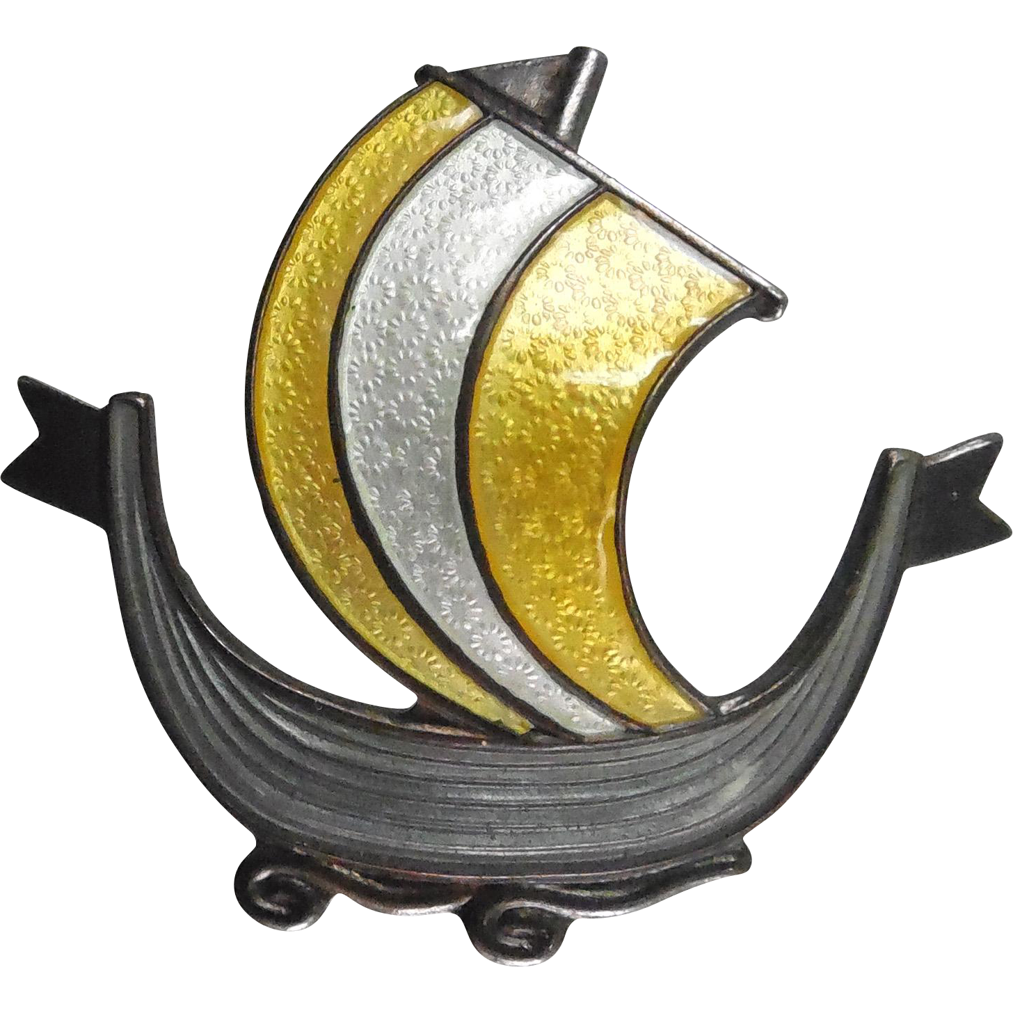 Vintage Norway Sterling Silver Enamel Viking Ship Brooch Signed Aksel Holmsen Gray Yellow & White Enamel
