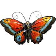 "Signed David Andersen Large 2.4"" Multicolor Sterling Silver Enamel Butterfly Brooch"