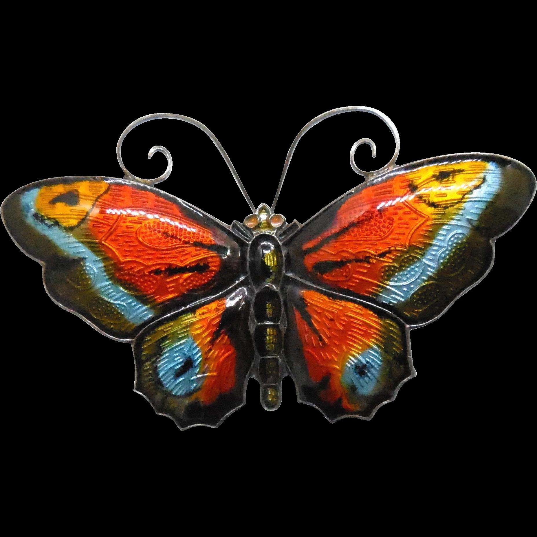 Signed David Andersen Large Multicolor Sterling Silver Enamel Butterfly Brooch