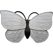 Denmark Sterling Silver Enamel Butterfly Brooch Black and White Volmer Bahner