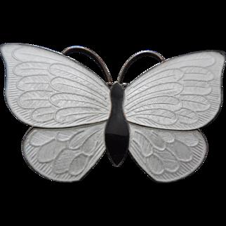 Denmark Sterling Silver Enamel Butterfly Brooch Black and White Volmer Bahner
