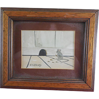 Painting by Listed Maine Artist Marvin H Jacobs  of Mouse at Mousehole