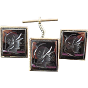 Vintage Sterling Silver & Hematite Intaglio Roman or Greek Soldier Set Cufflinks