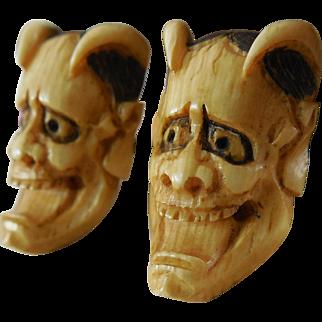 Vintage Japanese Carved Noh Hannya Mask Faux Bone Cufflinks - Silver Findings