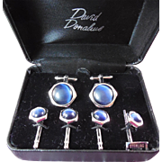 Sterling Silver Cufflink & Stud Set David Donahue Signed WEH Sterling