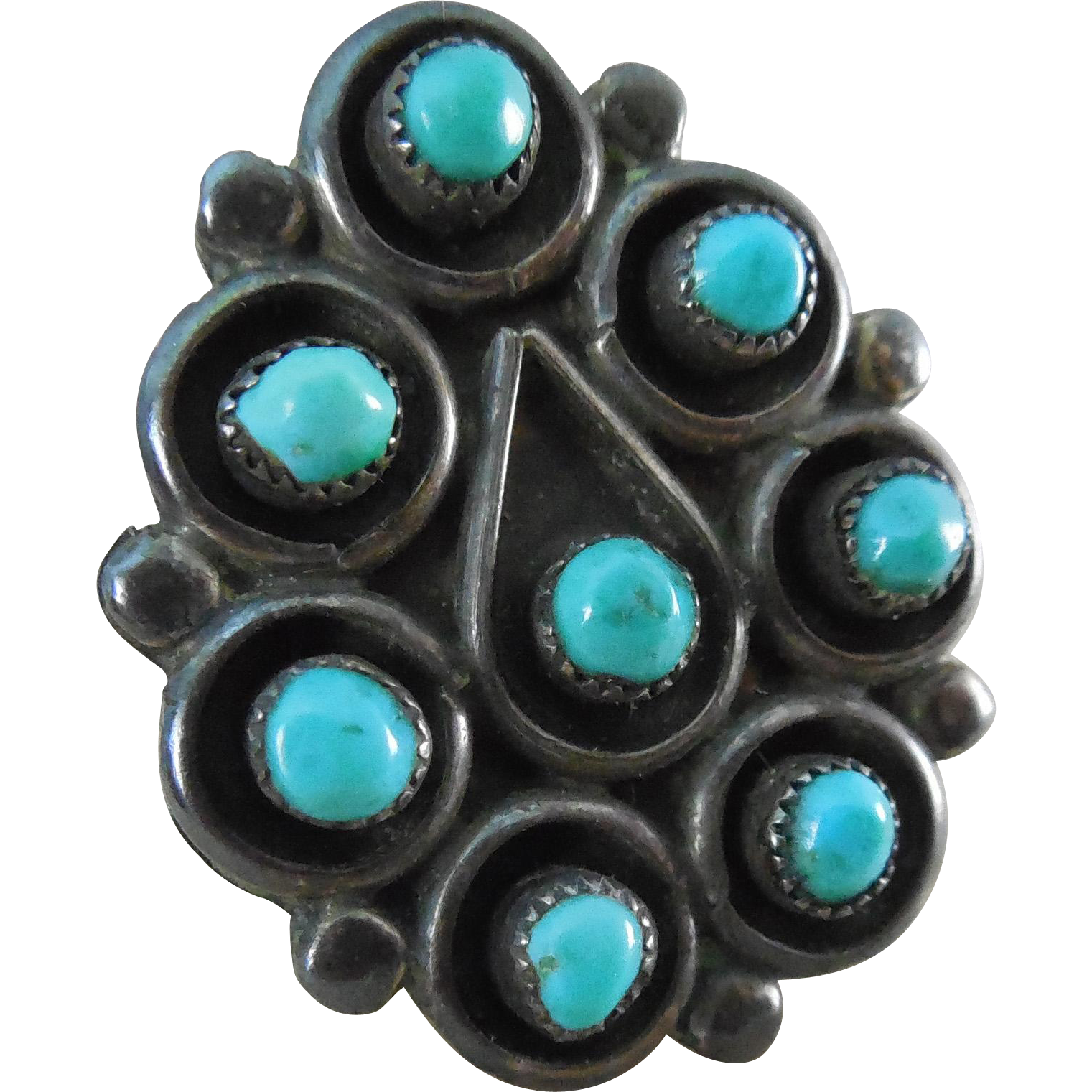 Fabulous Vintage Native American Silver & Turquoise Ring