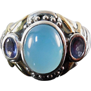 14K Gold & Sterling Silver Designer Signed Ring Chalcedony Stone Signed BJC Size 7